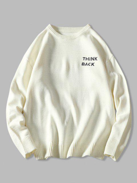 Letter Sketch Embroidered Drop Shoulder Sweater - أبيض 2XL Mobile