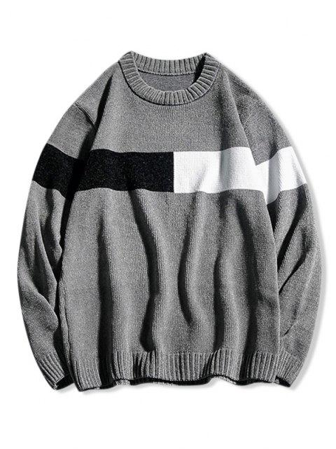 sale Contrast Crew Neck Pullover Sweater - GRAY S Mobile