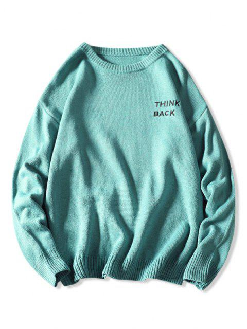 best Letter Sketch Embroidered Drop Shoulder Sweater - LIGHT BLUE 3XL Mobile