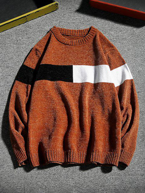 shops Contrast Crew Neck Pullover Sweater - COFFEE S Mobile