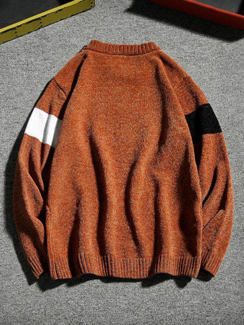 new Contrast Crew Neck Pullover Sweater - COFFEE M Mobile