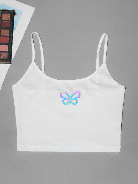 best Reflective Butterfly Crop Cami Top - WHITE M Mobile