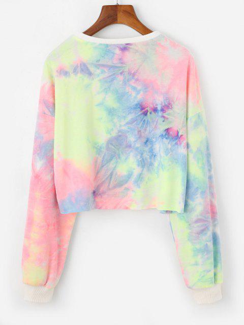 Zaful Tie Dye Butterfly Print Drop Shoulder Casual Sweatshirt - متعددة-B XL Mobile