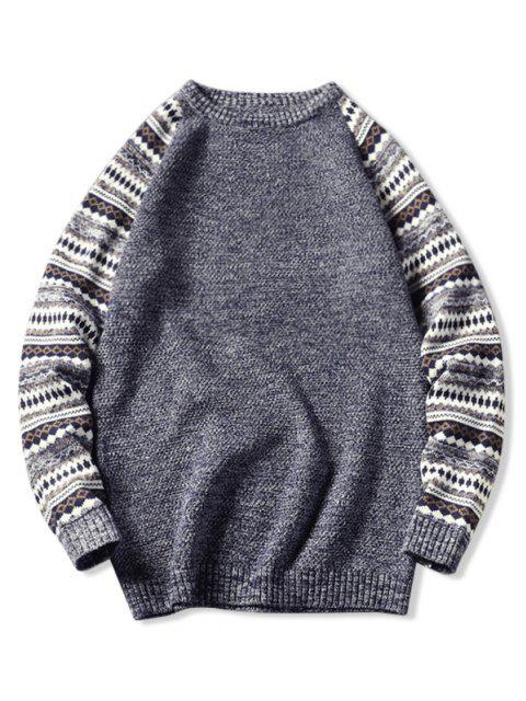 best Tribal Pattern Raglan Sleeve Sweater - SLATE BLUE L Mobile