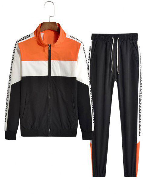 latest Letter Pattern Color Blocking Panel Jacket And Pants Set - DARK ORANGE S Mobile