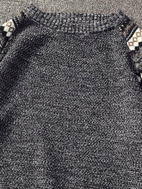 fashion Tribal Pattern Raglan Sleeve Sweater - BLACK L Mobile