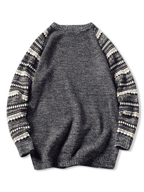 online Tribal Pattern Raglan Sleeve Sweater - BLACK XS Mobile