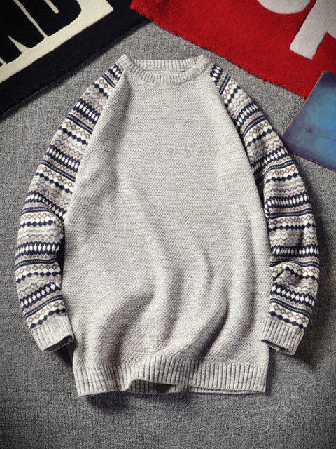 women Tribal Pattern Raglan Sleeve Sweater - BEIGE L Mobile