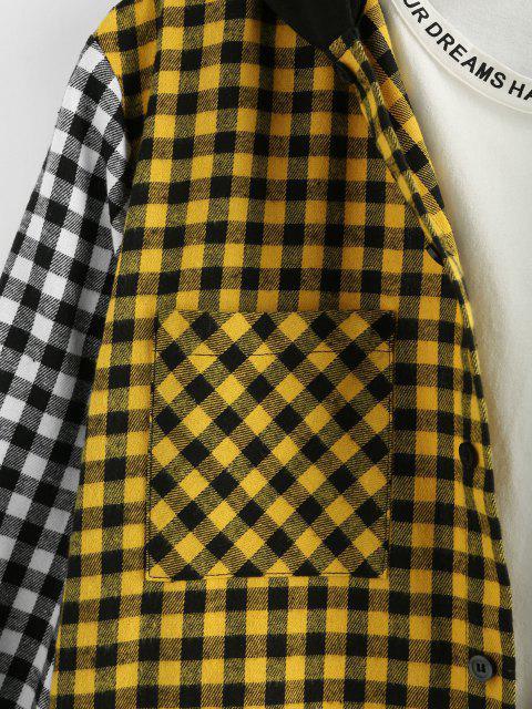 ZAFUL Farbblock Kariertes Muster Tasche Langarm Hemd - Multi XL Mobile