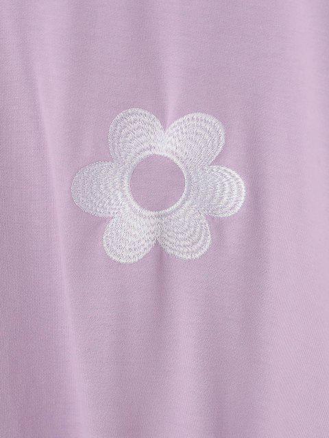 ZAFUL 꽃 자수 드롭 숄더 대형 운동복 - 라이트 퍼플 에스 Mobile