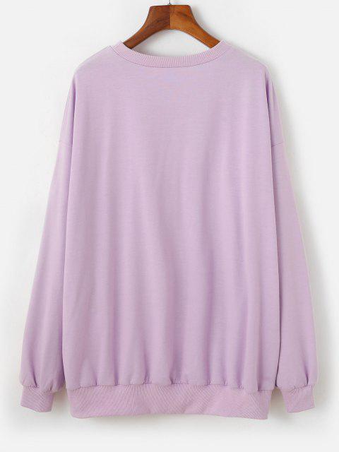 ZAFUL Sweat-shirt Surdimensionné Fleur Brodée à Goutte Epaule - Violet clair M Mobile