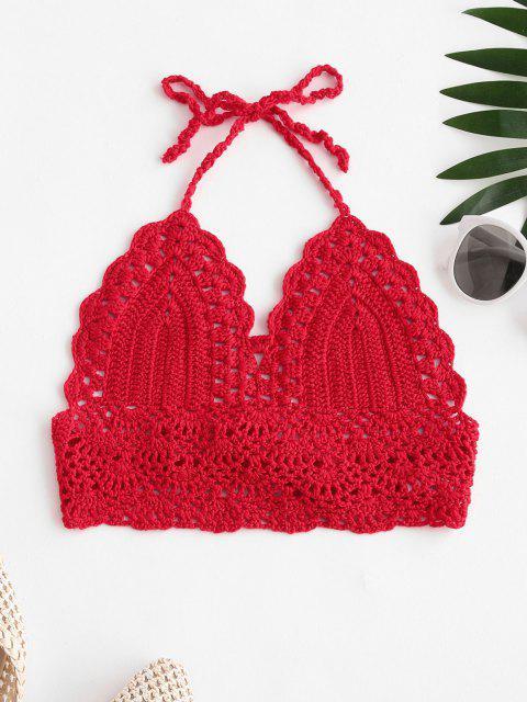 fancy Tie Back Crochet Bralette Bikini Top - RED L Mobile