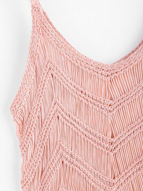 affordable Fringed Crochet Beach Top - LIGHT PINK ONE SIZE Mobile