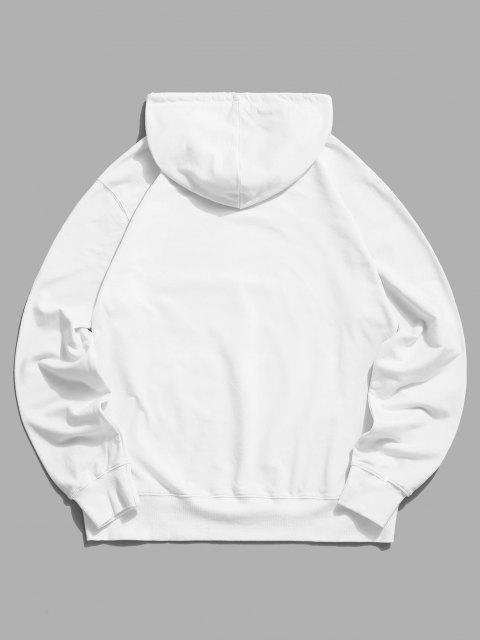 affordable Planet and Astronaut Graphic Drawstring Pouch Pocket Hoodie - WHITE 2XL Mobile