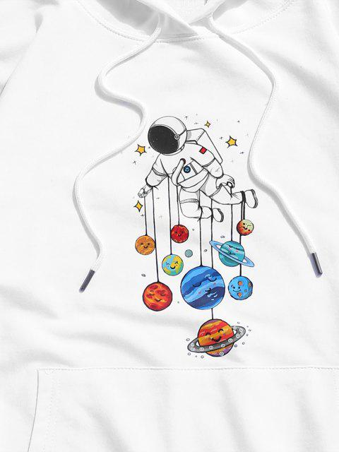 hot Planet and Astronaut Graphic Drawstring Pouch Pocket Hoodie - WHITE XS Mobile