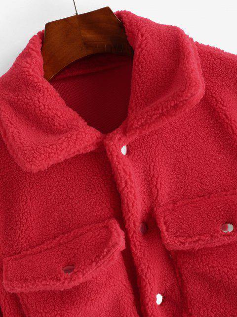 ladies Cropped Snap Button Cargo Teddy Jacket - RED S Mobile