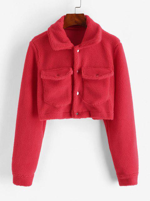 buy Cropped Snap Button Cargo Teddy Jacket - RED M Mobile