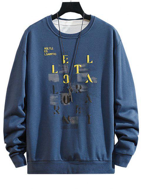 shop Letter Pattern Crew Neck Casual Sweatshirt - BLUEBERRY BLUE S Mobile
