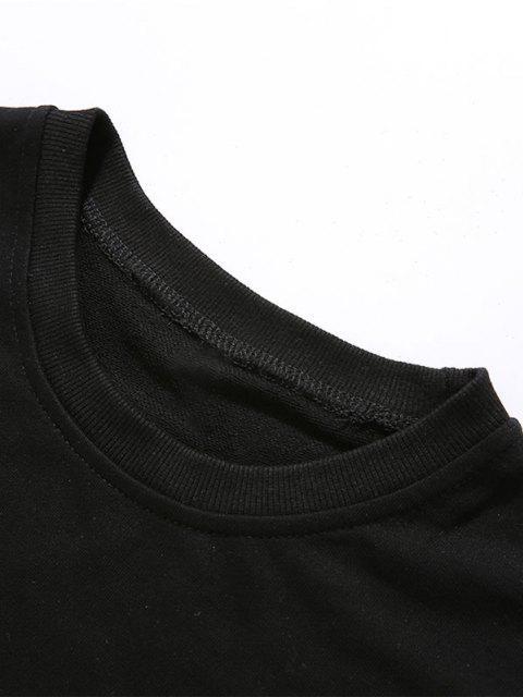 Sweat-shirt Décontracté Motif de Lettre à Col Rond - Noir S Mobile