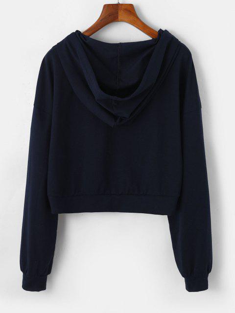 shops ZAFUL Letter Drop Shoulder Zip Up Crop Hoodie - DARK SLATE BLUE S Mobile