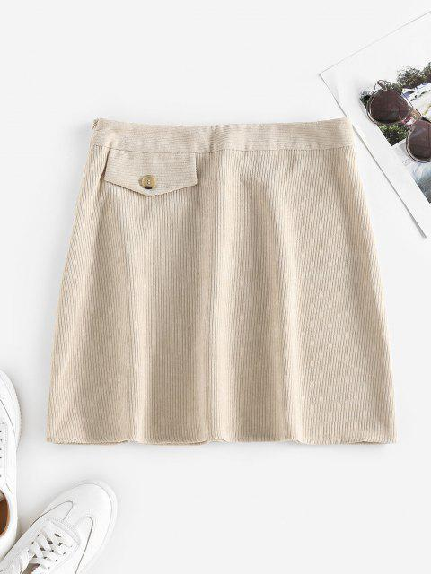 outfit ZAFUL Corduroy Flap Detail Mini Skirt - LIGHT YELLOW S Mobile