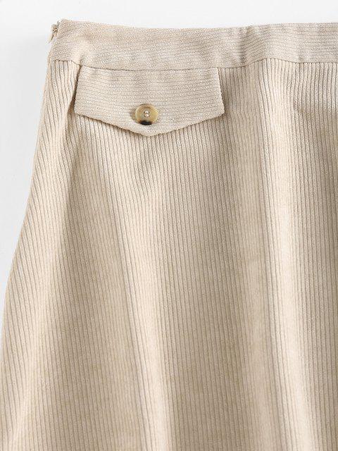 shops ZAFUL Corduroy Flap Detail Mini Skirt - LIGHT YELLOW M Mobile