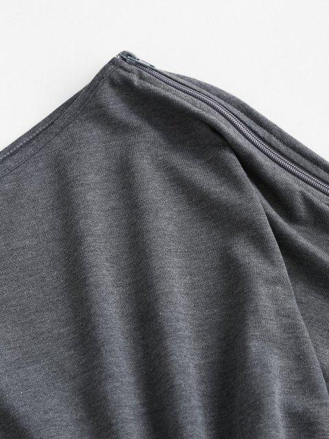 best Skew Collar Open Shoulder Cutout Romper - GRAY S Mobile