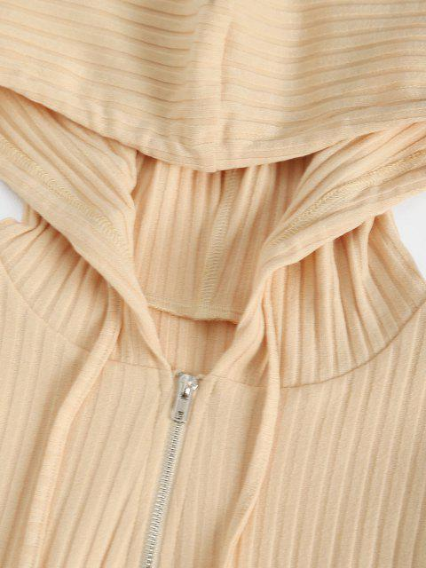 women ZAFUL Ribbed Hooded Zip Up Cardigan - APRICOT L Mobile