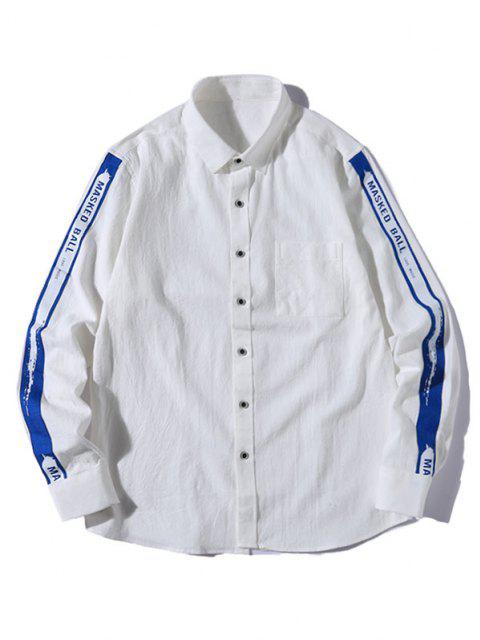 latest Letter Strap Button Up Leisure Shirt - WHITE L Mobile