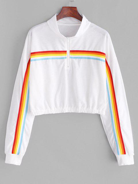 Rainbow Striped Zip Drop Shoulder Sweatshirt - أبيض XL Mobile