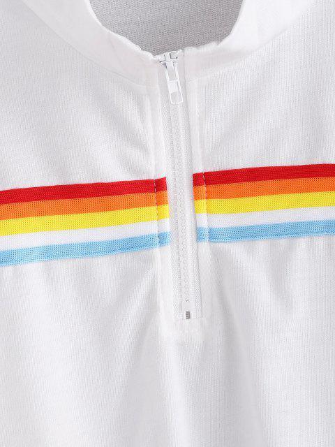 new Rainbow Striped Zip Drop Shoulder Sweatshirt - WHITE XL Mobile