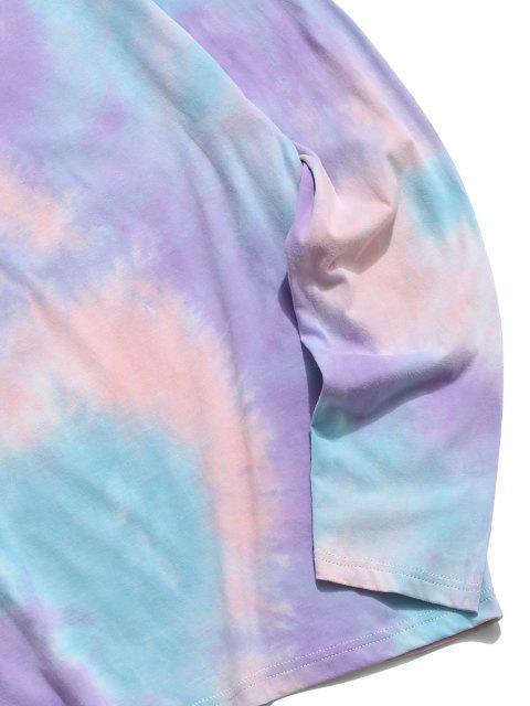 fashion ZAFUL Tie Dye Print Long Sleeve T Shirt - PURPLE 2XL Mobile