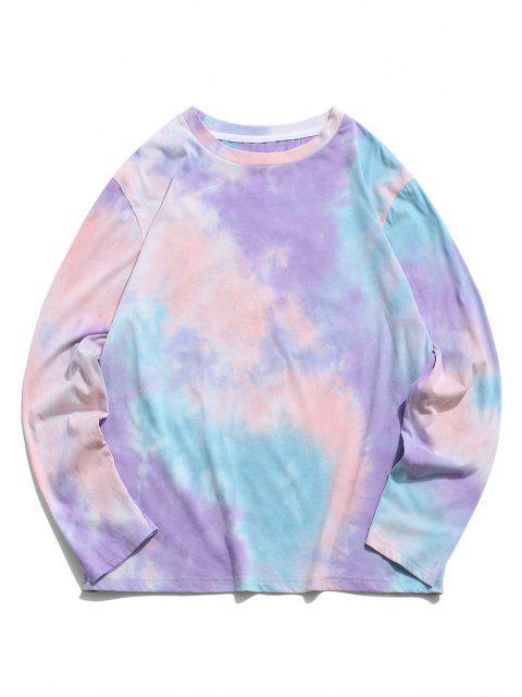 T-Shirt di Tie-Dye con Maniche Lunghe di ZAFUL - Viola 2XL Mobile