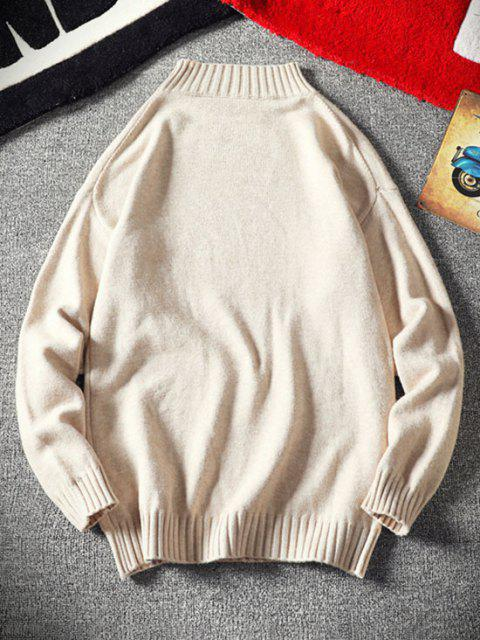 best Mock Neck Drop Shoulder Sweater - WHITE XS Mobile