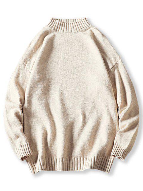 Jersey de Cuello Alto y Hombro Caído - Blanco M Mobile