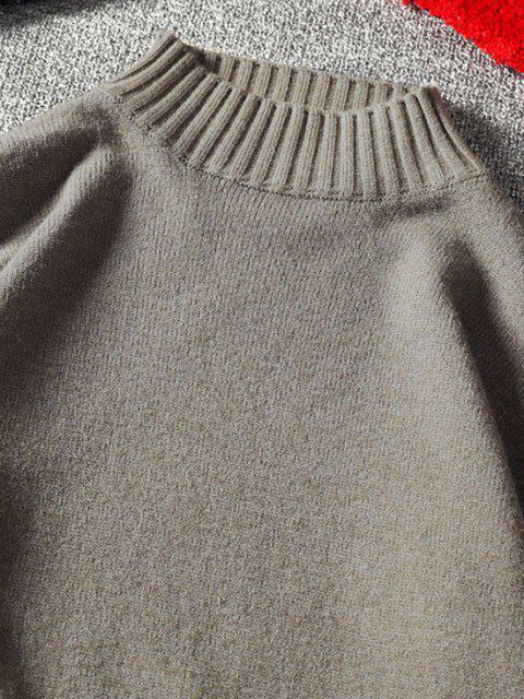 trendy Mock Neck Drop Shoulder Sweater - GRAY XS Mobile