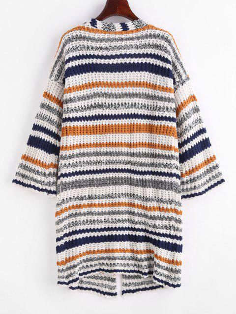 best Dual Pocket Open Front Stripes Cardigan - BLUE ONE SIZE Mobile