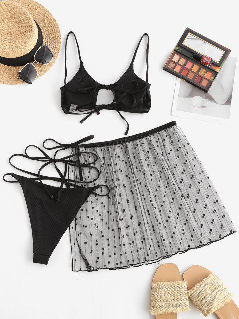 outfit ZAFUL Lace Ribbed Criss Cross Cutout Three Piece String Bikini Swimwear - BLACK M Mobile