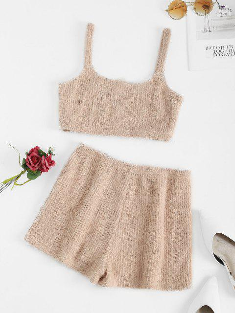 womens ZAFUL Fuzzy U Neck Loose Pajama Shorts Set - KHAKI ROSE L Mobile