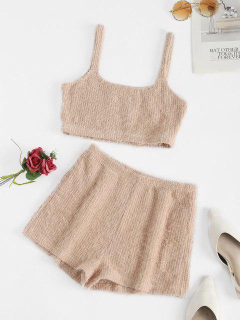 ladies ZAFUL Fuzzy U Neck Loose Pajama Shorts Set - KHAKI ROSE S Mobile