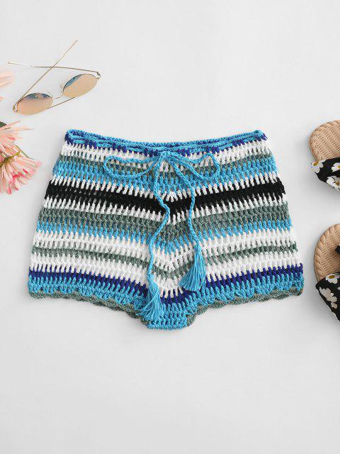 lady Colorful Crochet Tassel Beach Shorts - LIGHT BLUE L Mobile
