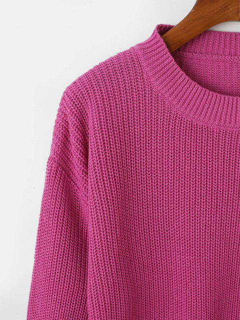 fashion Drop Shoulder Crew Neck Lantern Sleeve Sweater - DEEP RED ONE SIZE Mobile