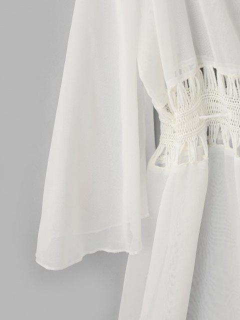 buy ZAFUL Sheer Tassel Crochet Panel Tie Front Cover-up - WHITE ONE SIZE Mobile