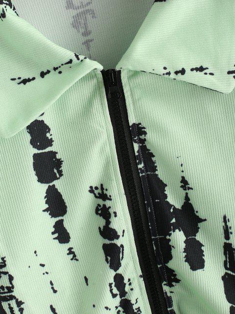 Chaqueta Recortada de Tie-dye con Cremallera - Verde S Mobile