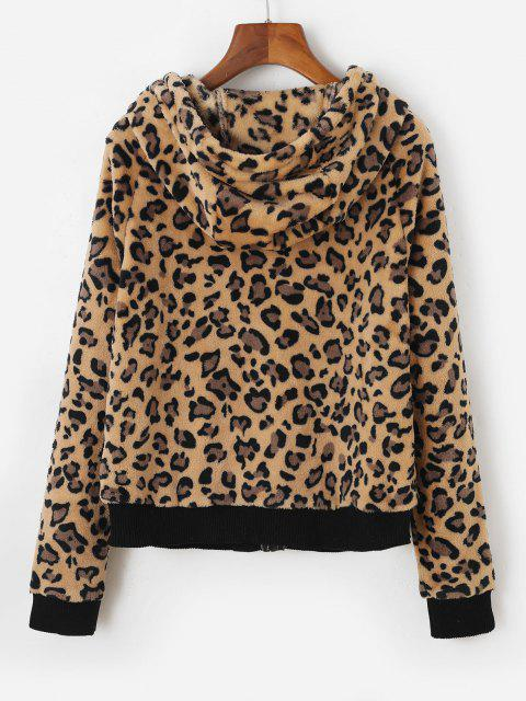 Leopard Faux Fur Hooded Zip Pocket Jacket - القهوة الخفيفة L Mobile