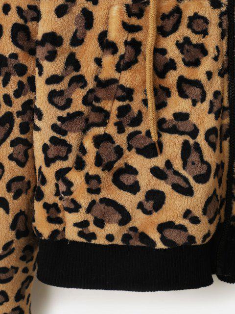 latest Leopard Faux Fur Hooded Zip Pocket Jacket - LIGHT COFFEE L Mobile