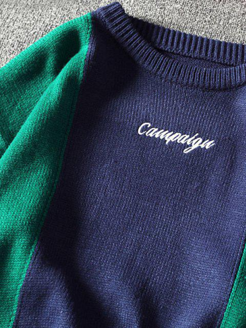 new Letter Embroidered Contrast Sweater - BLUE 4XL Mobile