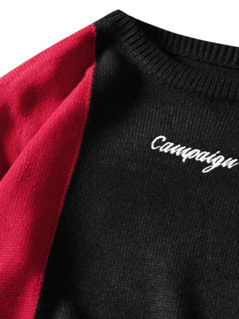trendy Letter Embroidered Contrast Sweater - BLACK 4XL Mobile