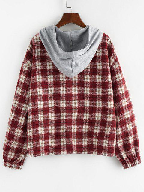 women ZAFUL Hooded Plaid Shirt Jacket - RED M Mobile