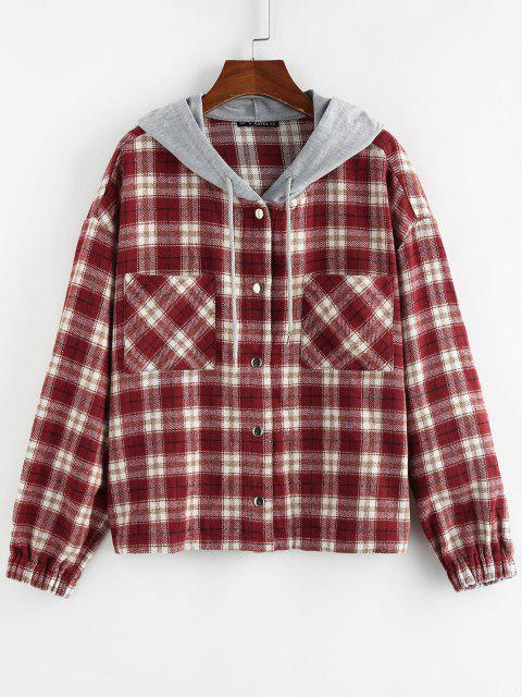 ZAFUL Hooded Plaid Shirt Jacket - أحمر M Mobile